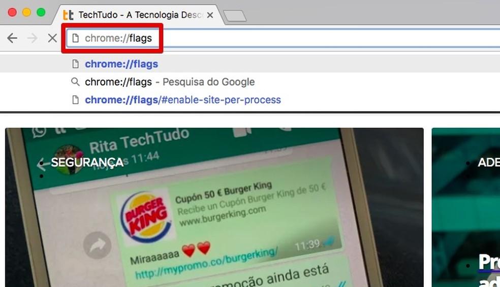 Acesse a página de recursos experimentais do Chrome (Foto: Reprodução/Helito Bijora)