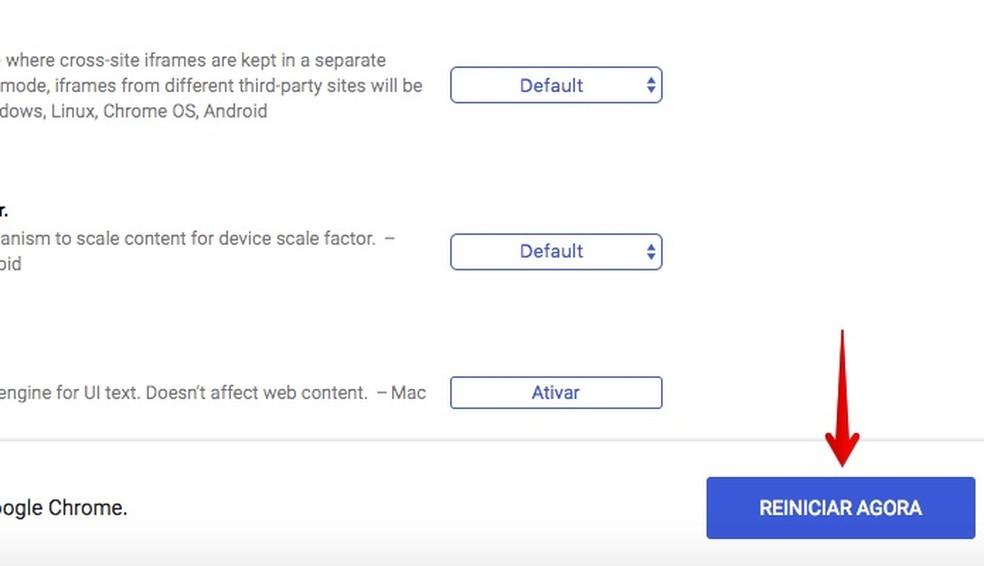 Reinicie o Chrome para aplicar (Foto: Reprodução/Helito Bijora)